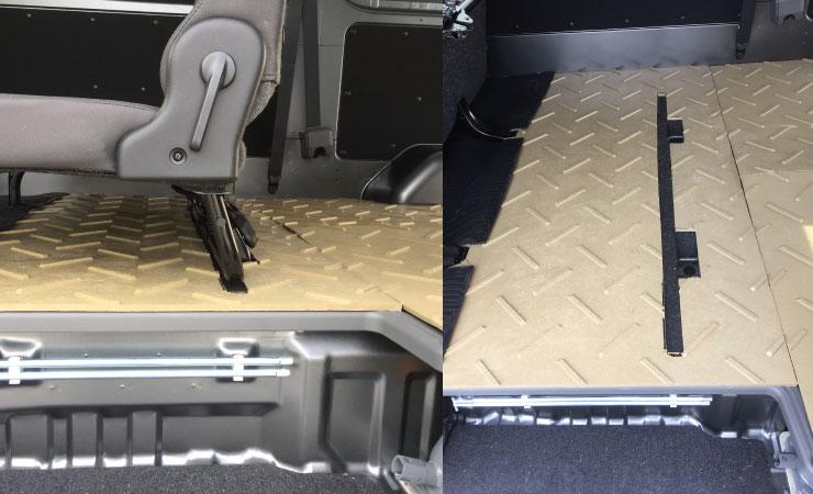 ハイエースの荷室で床材として樹脂敷板ディバンを敷設。プラスチックなので水や化学物質により腐食もしませんし、ささくれなども出ませんので安心してご使用頂けます